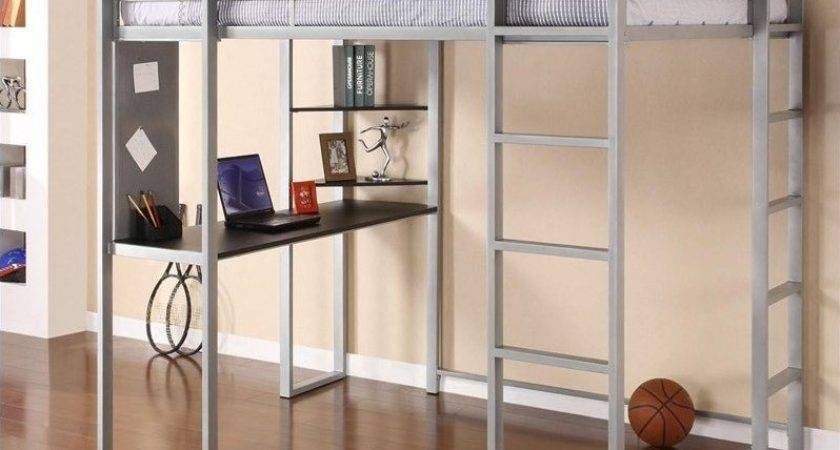 Abode Metal Loft Bed Silver Desk
