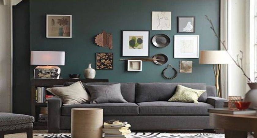 Accent Wall Living Room Grey Couch Neutral Accents