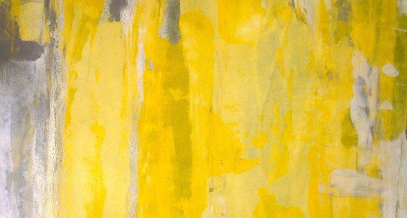 Acrylic Abstract Art Painting Grey Yellow White
