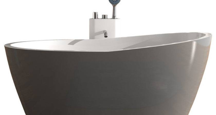 Adm Matte Stand Alone Resin Bathtub Grey Contemporary