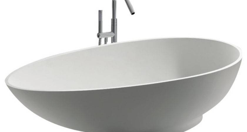 Adm White Stand Alone Resin Bathtub Modern Bathtubs