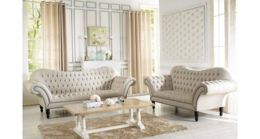 Alina Beige Tufted Fabric Living Room Set