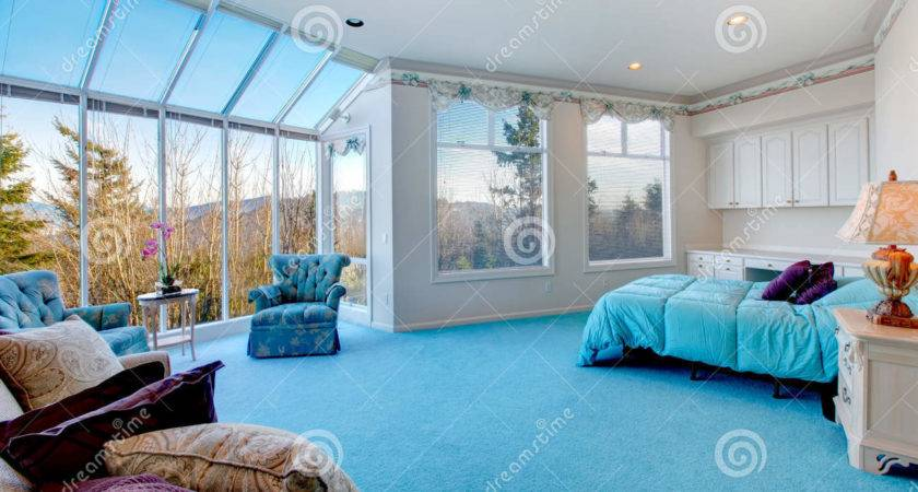 Amazing Light Blue White Bedroom Glass Wall