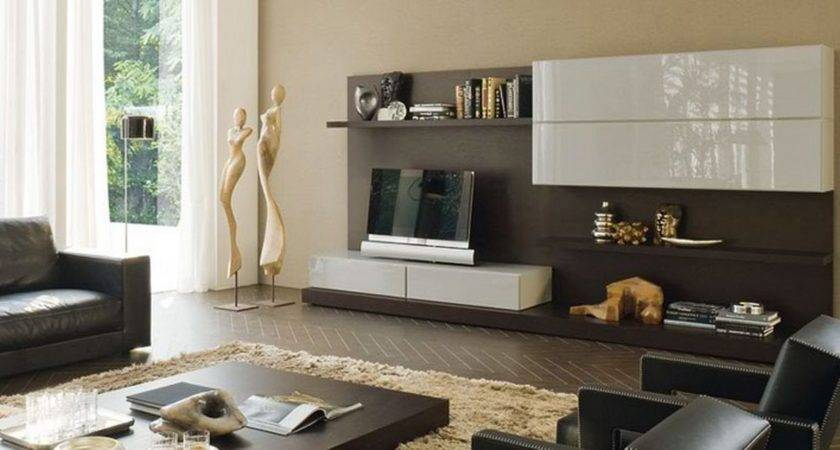 Amazing Living Room Brown Stand Glossy White
