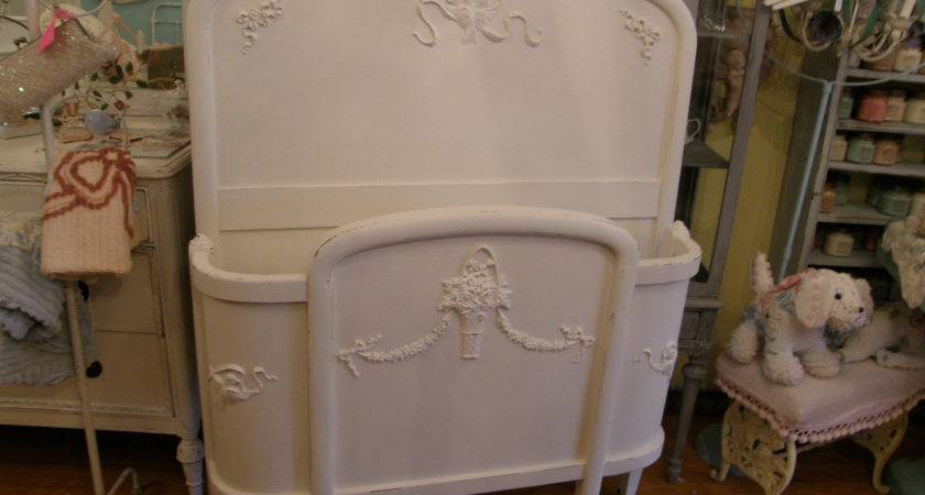 Antique Chic Bed Frame White Shabby Twin Curved Distressed