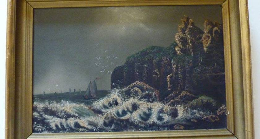 Antique Framed Primitive Seascape Painting Unusual