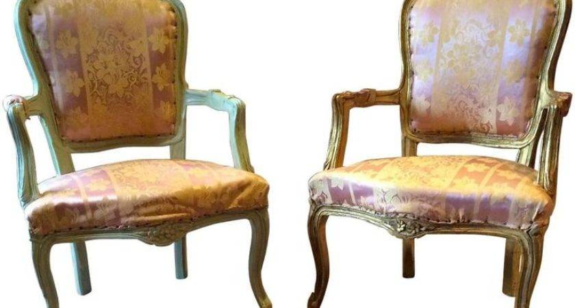 Antique French Louis Style Armchairs Fauteuils Pair