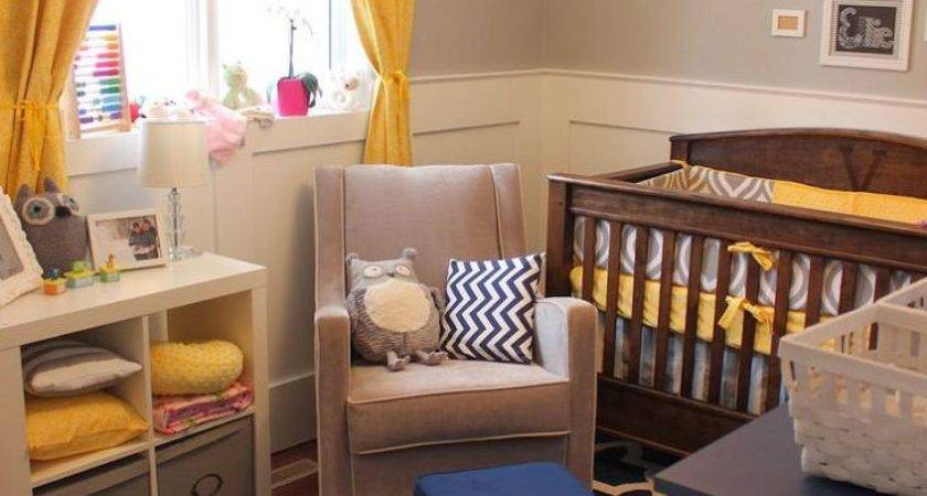 Appealing Baby Room Ideas Yellow Mustard Curtain Brown
