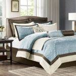 Beautiful Modern Light Blue Brown Ivory Comforter Set