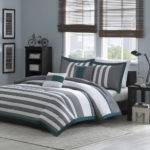 Beautiful Modern Teal Blue White Grey Stripe Soft