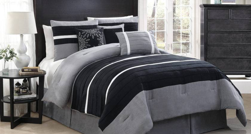 Bedroom Black Gray Comforter Sham Grey Bed
