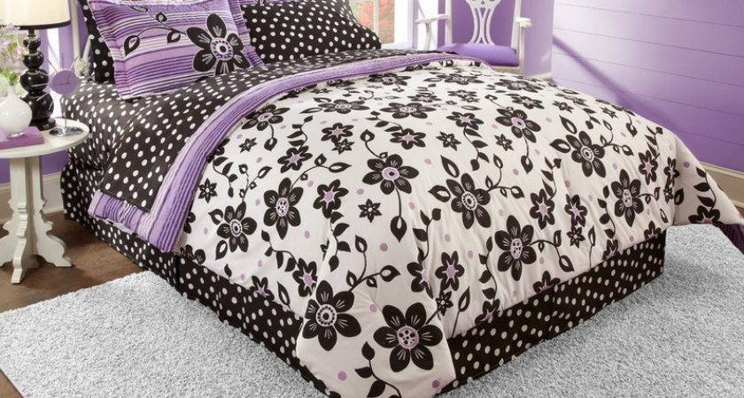Bedroom Black White Purple Bedding Teenage Girls