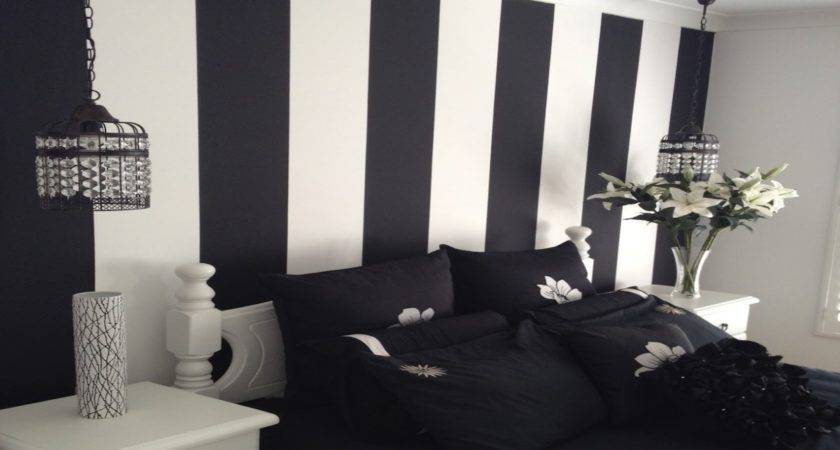 Bedroom Design Great White Black Striped Wall