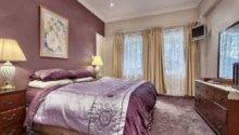 Bedroom Soft Purple Accent Wall Color Beige Curtain