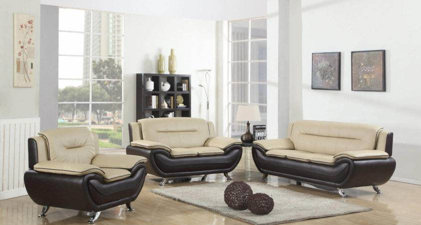 Beige Brown Contemporary Living Room Set