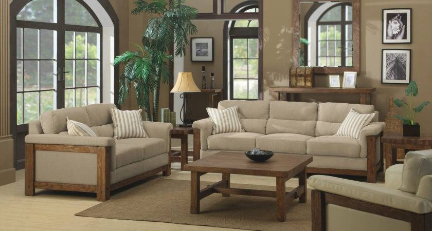 Beige Brown Living Room Modern House