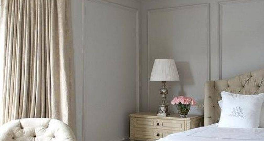 Beige Gray Bedroom Wall Moldings French