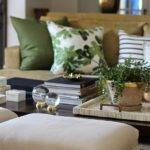 Beige Green Living Rooms Transitional Room