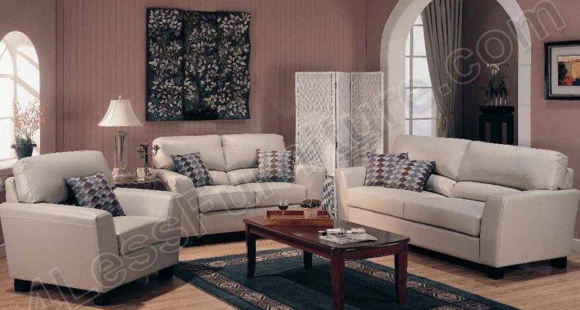 Beige Leather Living Room Set Lfl Slc