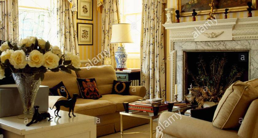 Beige Sofas Cream Carpet Yellow Country Living Room