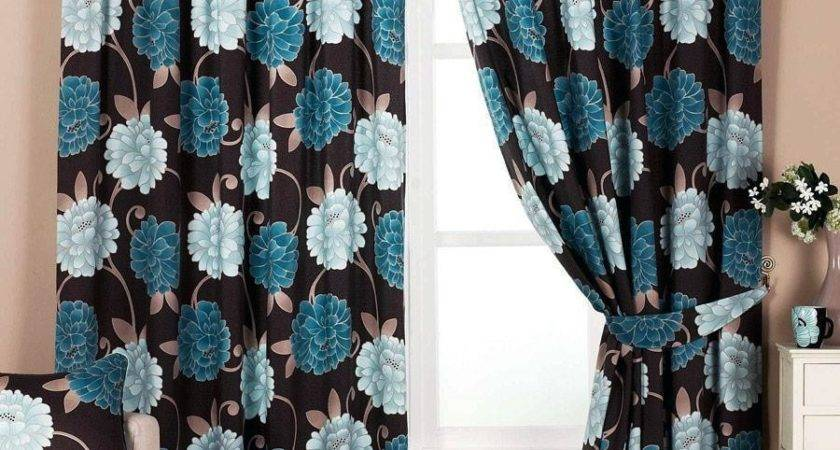 Bella Teal Blue Chocolate Ready Made Designer Curtain