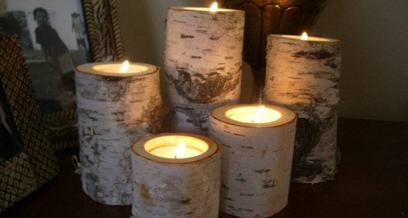 Birch Bark Log Candle Holders Tea Lights Set Dchampin