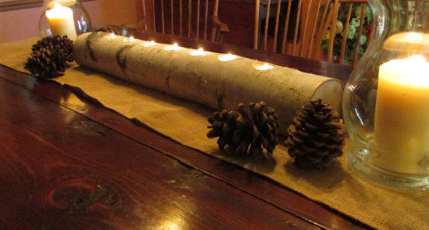 Birch Log Candle Holder Long Centerpiece