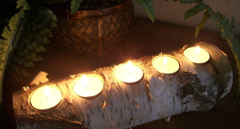 Birch Tea Light Candle Holder Log Rustic Decor