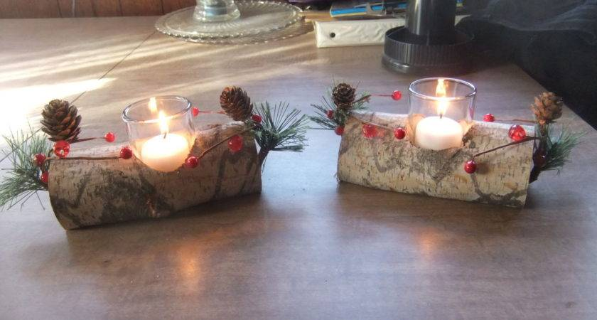 Birch Wood Fireplace Log Votive Candle Holders Rustic