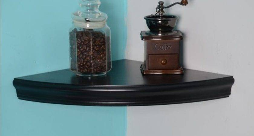 Black Corner Floating Shelves Traditional Display