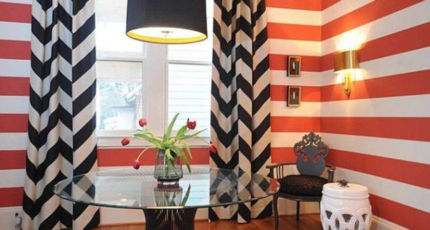 Black Curtains Red Wall Stripes