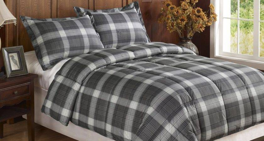 Black Dark Grey Plaid Flannel Feel Down Alternative