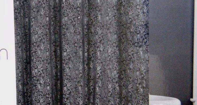 Black Fabric Shower Curtain Embossed Silver Metallic