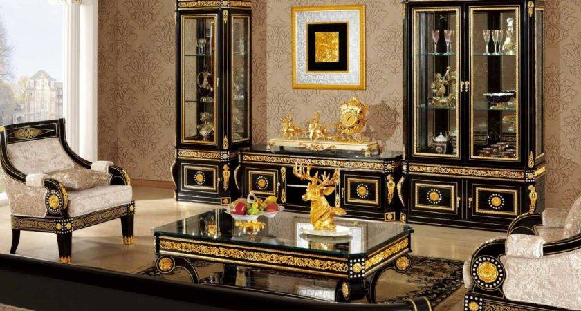 Black Gold Living Room Furniture Brown Chair