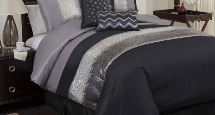 Black Gray Sequin Pieced Embroidered Faux Silk