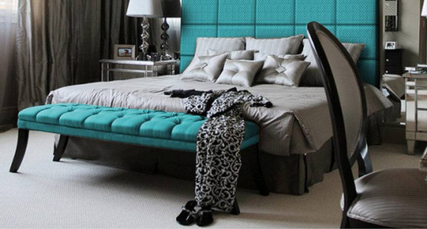 Black Gray Turquoise Bedrooms