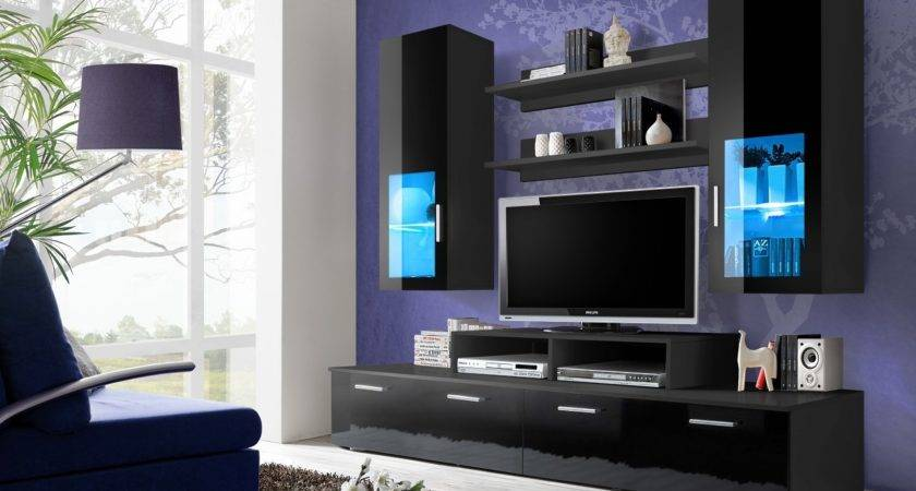 Black High Gloss Wall Unit Toledo Concept Muebles