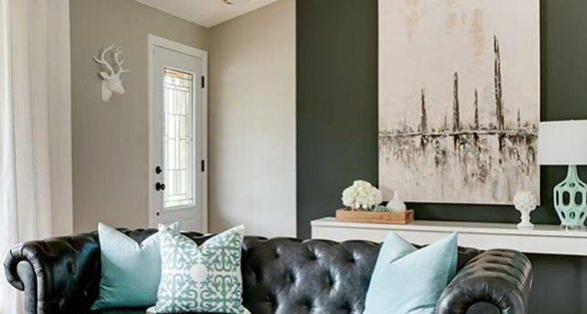 Black Leather Chesterfield Sofa Turquoise Pillows