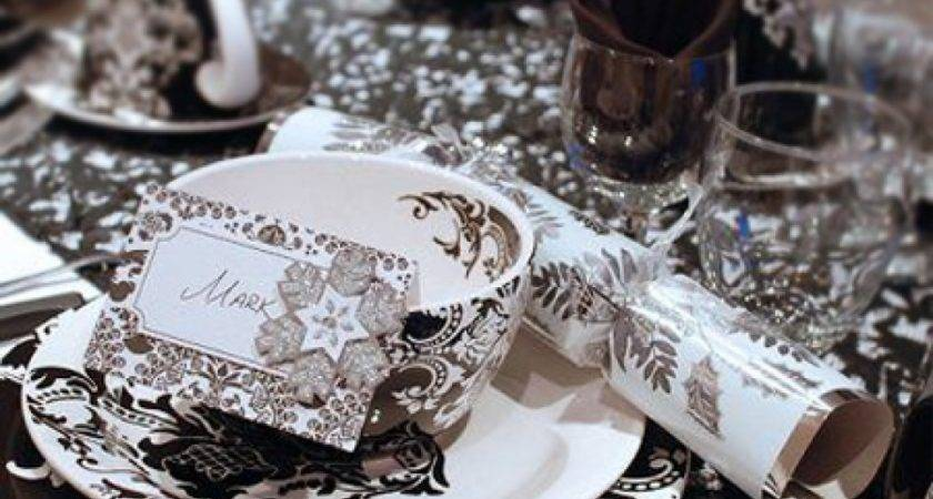 Black Silver Christmas Table Decorations Intended