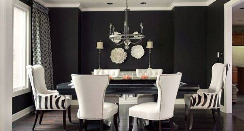 Black White Dining Room Ideas Grasscloth