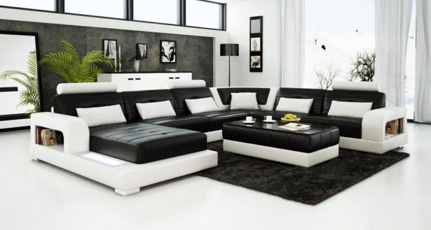 Black White Leather Sectional Sofa Adjustable