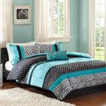 Black White Leopard Teal Accent Bedding