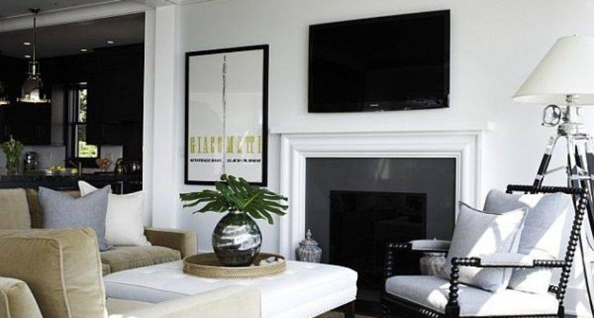 Black White Living Room Decor Green Accents