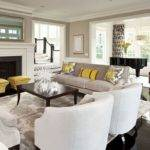 Black White Living Room Design Yellow Accessories