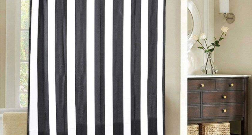 Black White Striped Fabric Shower Curtains Curtain