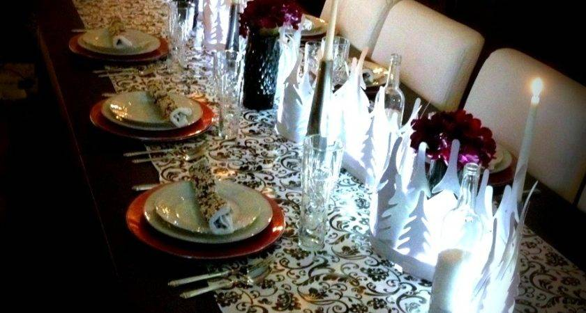 Black White Table Decor Theme Christmas Ideas