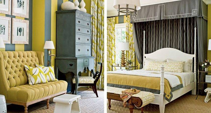 Black White Yellow Grey Bedroom Inspiration