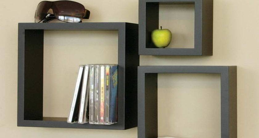 Bloombety Black Wall Shelves Squares Design Fancy