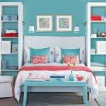 Blue Bedroom Pink Coral Accents Decorating
