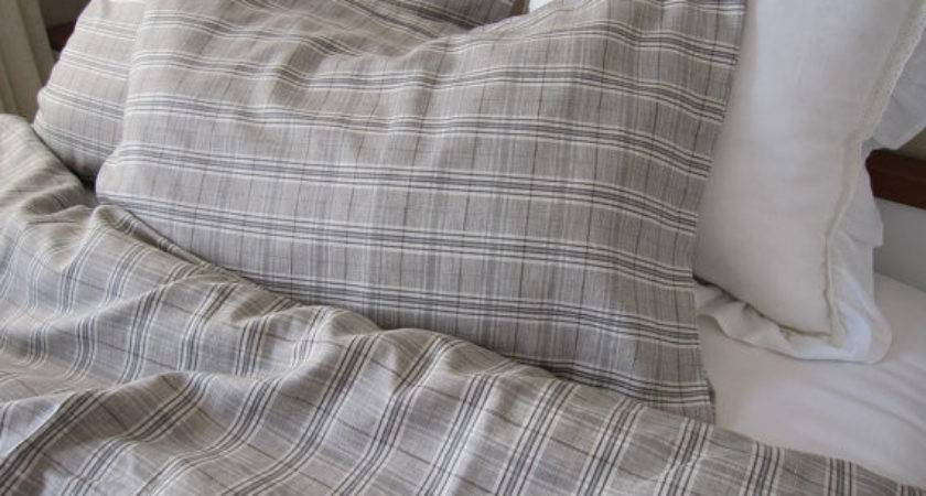 Blue Brown Grey Gray Plaid Linen Double Queen Duvet Cover